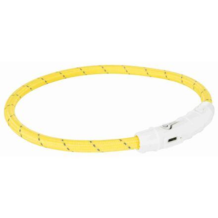 Trixie Svítící kroužek USB na krk XS-S 35 cm/7 mm, žlutý - DOPRODEJ