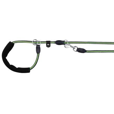 Trixie FUSION kulaté vodítko Retrívrs gum.rukojetí M-XL 1,90m/13mm, černo-zelený - DOPRODEJ