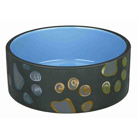 Trixie Keramická miska JIMMY tmavě šedá s packami 0,75l/15 cm