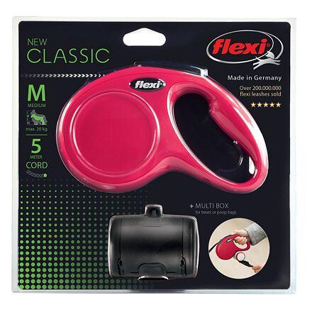 Flexi Flexi New Classic SET M šňůra 5 m, max. 20kg+zásobník, červená - DOPRODEJ