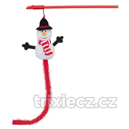 Vánoční hračka pro kočky sněhulák na udici 31 cm