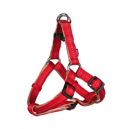 TRIXIE Postroj SOFTLINE ELEGANCE 65-80cm/25mm (L), červeno/béžový - DOPRODEJ