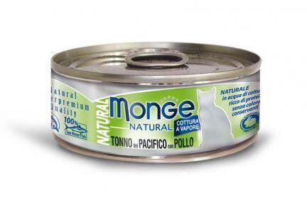 MONGE NATURAL tuňák s kuřecím masem pro kočky 80 g