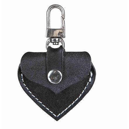 Adresář kožené srdíčko s kovovou karabinkou 5,5x5 cm,  - černé