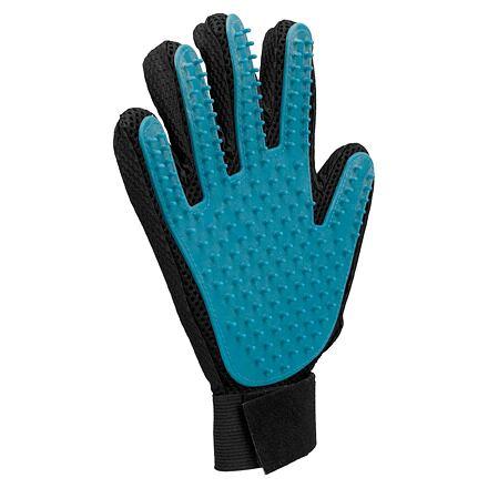 TRIXIE Pečující masážní rukavice černo/modrá 16 x 24 cm