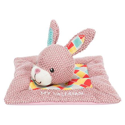 JUNIOR snuggler - plyšový mazlíček, čtverec s králičí hlavou 13 x 13 cm