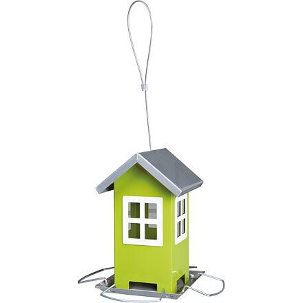 TRIXIE Zahradní krmítko kovové, barevný domeček 19x20x19 cm,  - zelený/stříbrná střecha