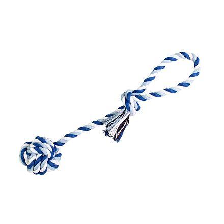 Přetahovadlo HipHop bavlněný míč 7 cm, 38 cm / 130 g tm.modrá, sv.modrá, bílá