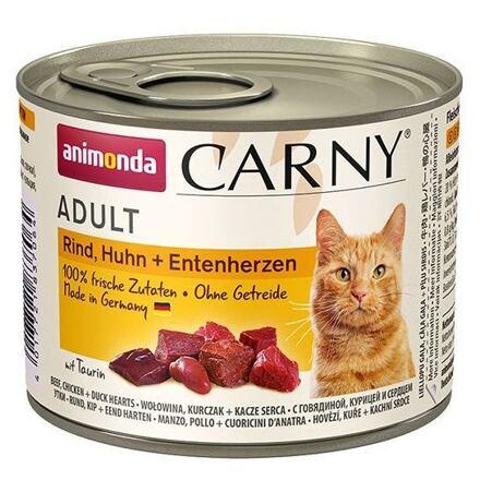 ANIMONDA konzerva CARNY Adult - hovězí,kuře,kachní srdce 200g