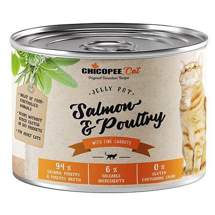 CHICOPEE ADULT JELLY losos, drůbeží konzerva pro kočky 195 g