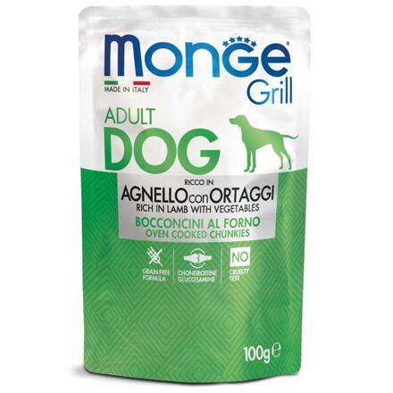 MONGE GRILL kapsička jehněčí se zeleninou pro psy 100 g
