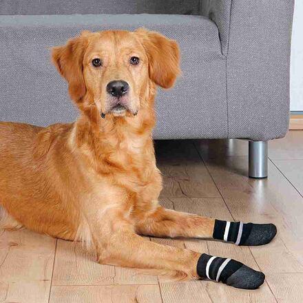 TRIXIE Protiskluzové ponožky černé S-M, 2 ks pro psy bavlna/lycra