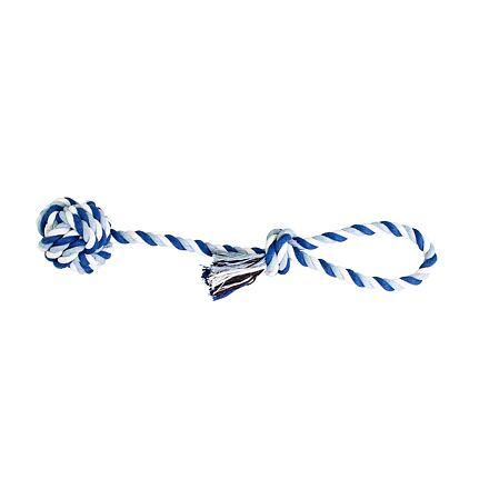 Přetahovadlo HipHop bavlněný míč 9 cm, 58 cm / 300 g tm.modrá, sv.modrá, bílá
