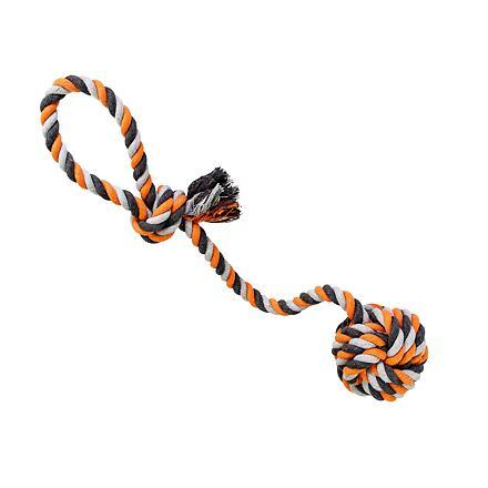 Přetahovadlo HipHop bavlněný míč 9 cm, 58 cm / 300 g šedá, tm.šedá, oranžová