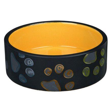 Trixie Keramická miska JIMMY tmavě šedá s packami 1,5l/20 cm