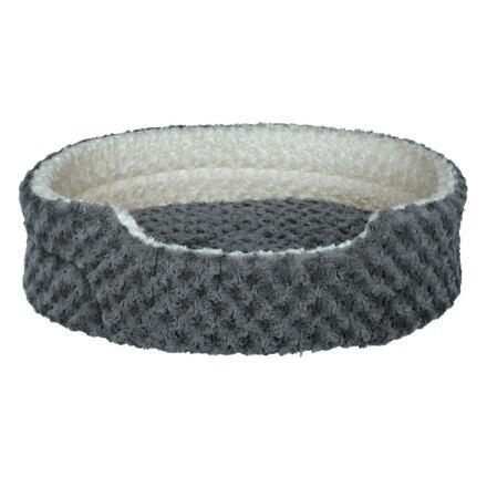 Plyšový pelíšek KALINE 75 x 65 cm, šedo/krémový - DOPRODEJ