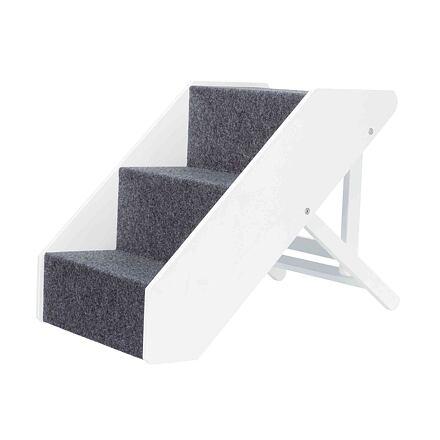 TRIXIE Dřevěné schody s plstěným vzhledem,nastavitelné 40x67cm bílé