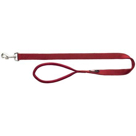 TRIXIE Vodítko PREMIUM s vyplněnou rukojetí 1m/20mm (M-L), burgund - DOPRODEJ
