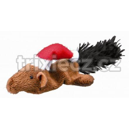 TRIXIE Vánoční plyšová myš/veverka hračka pro kočky 14-17 cm