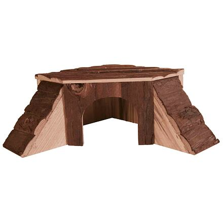 Dřevěný domek rohový THORDIS pro činčilu, morče 35 x 15 x 37/37 cm