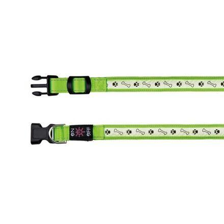 Trixie Svítící obojek USB, L-XL 50-60 cm/25 mm zelený - DOPRODEJ