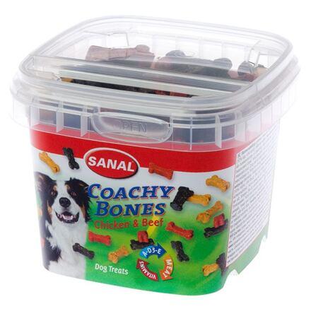 SANAL Coachy Bones - poloměkké kostičky kuře, hovězí 100 g - DOPRODEJ