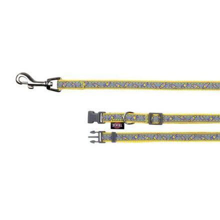 Trixie Obojek s vodítkem XS-S 22-35cm/1cm 1,2m šedo-žlutý DOPRODEJ