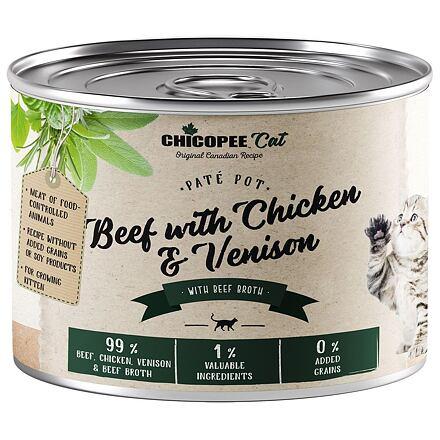 CHICOPEE KITTEN paté hovězí,kuřecí, zvěřina konzerva pro koťata 195 g