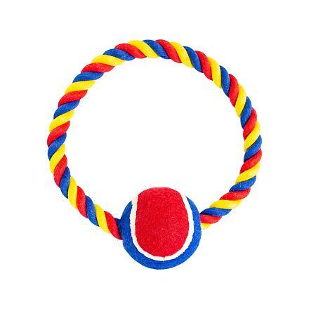 Bavlněný kruh HipHop s tenisákem 6 cm, 18 cm / 140 g červená, modrá, bílá