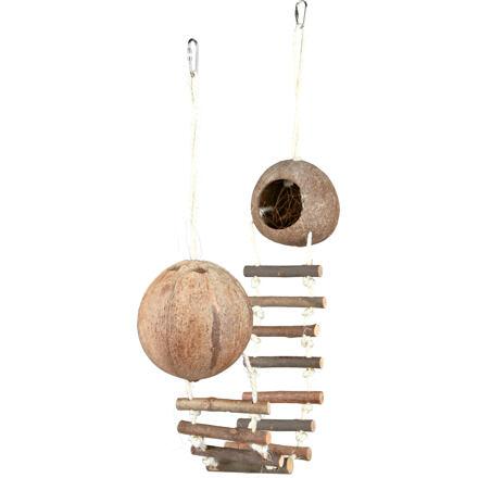 Trixie Kokosové domky pro křečky spojené žebříkem 2x13 x 100 cm