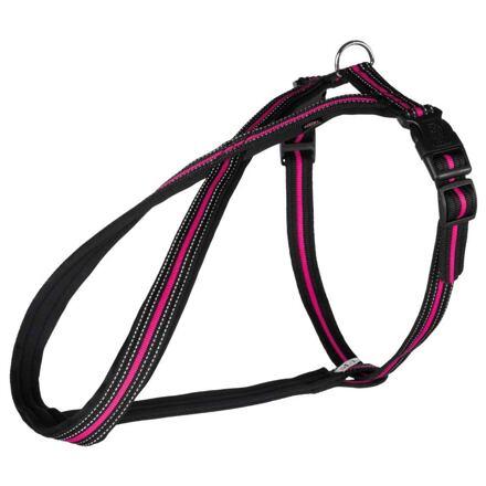 Trixie FUSION postroj polstrovaný neoprenem S 35-50cm/23mm, černo-růžový - DOPRODEJ