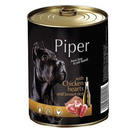 PIPER s kuřecími srdíčky a hnědou rýží, konzerva pro psy 400g