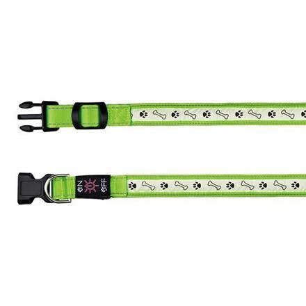 Trixie Svítící obojek USB, S-M 30-40 cm/25 mm zelený - DOPRODEJ