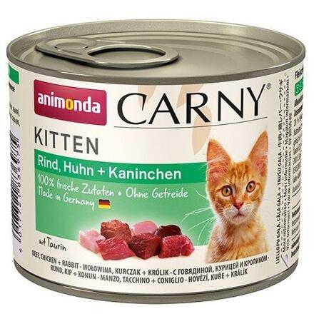 ANIMONDA konzerva CARNY Kitten - hovězí, kuře+ králík 200g