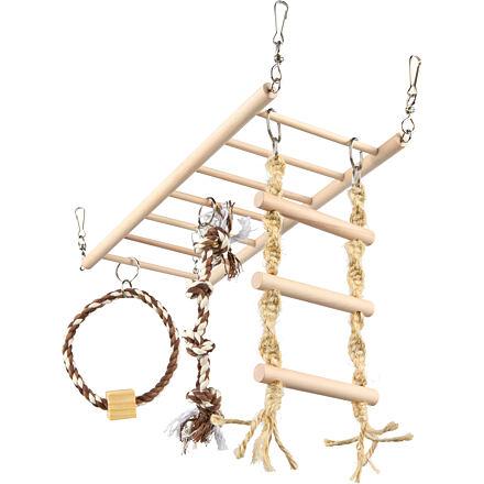 Závěsný žebřík s hračkami-činka,kruh,žebřík pro hlodavce