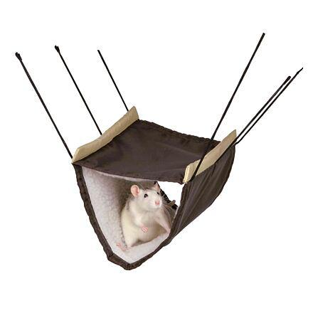 Trixie Závěsný pelíšek z nylonu s beránkem 2 podlažní-fretka,potkan
