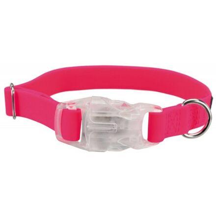 TRIXIE Neonový obojek se svítící karabinou L-XL 40-65cm/25mm růžový - DOPRODEJ