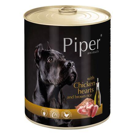 PIPER s kuřecími srdíčky a hnědou rýží, konzerva pro psy 800g