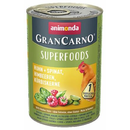Animonda GRANCARNO Superfoods kuře,špenát,maliny,dýňová semínka 400 g pro psy