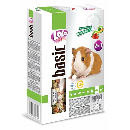 LOLO BASIC 2v1 zelen.a ovocné krmivo pro morčata 500g krabička