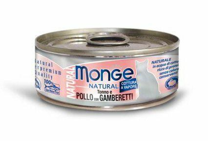 Monge MONGE NATURAL kuřecí maso s krevetami pro kočky 80 g